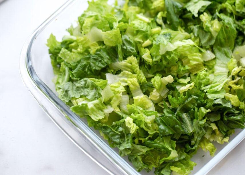 Lettuce layer of tortellini salad
