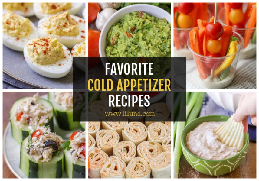 A collage of cold appetizers