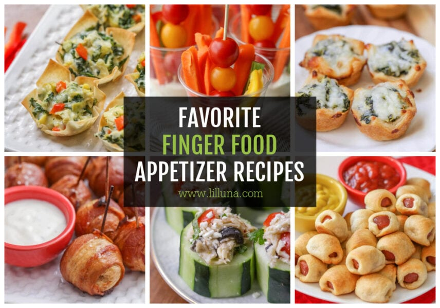 A collage of finger food appetizer recipes