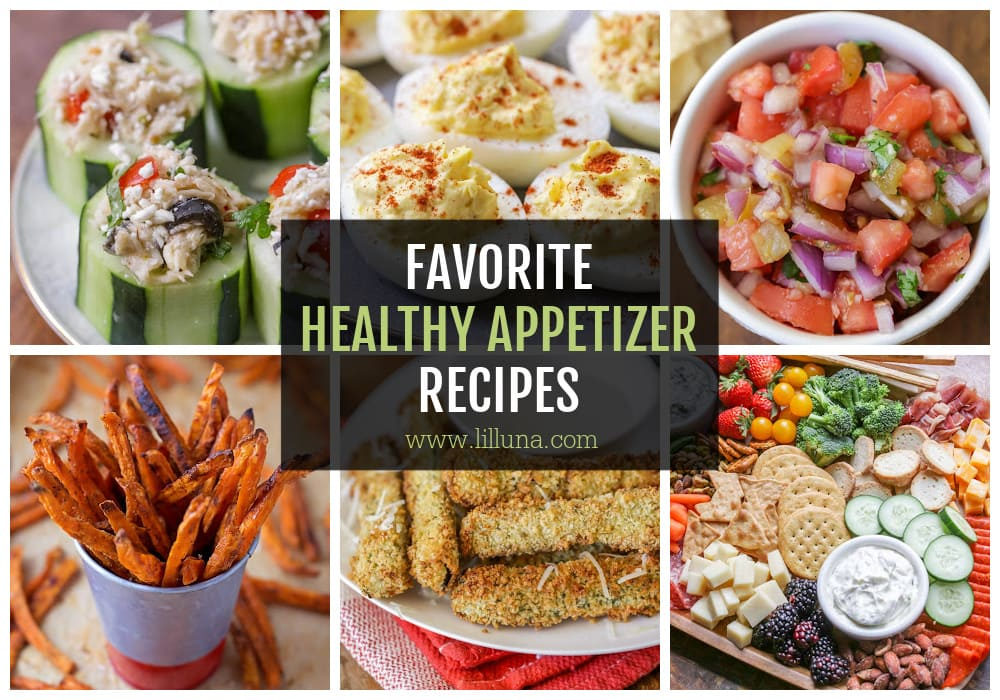A collage of healthy appetizers