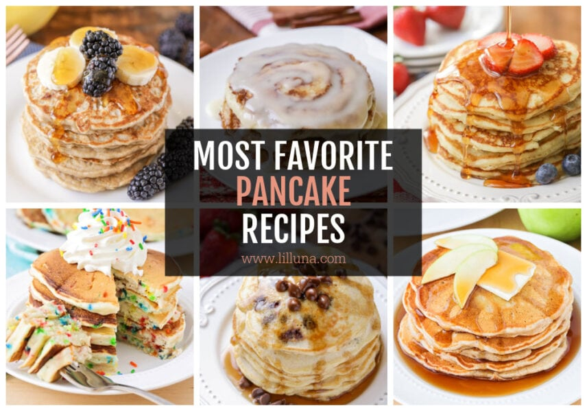 A collage of pancake recipes