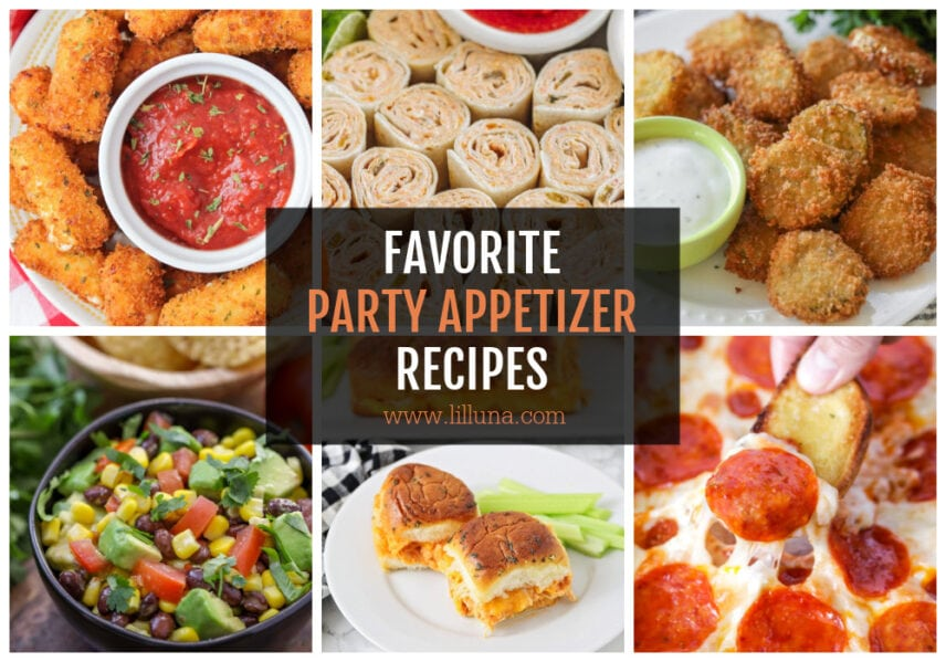 A collage of various party appetizers