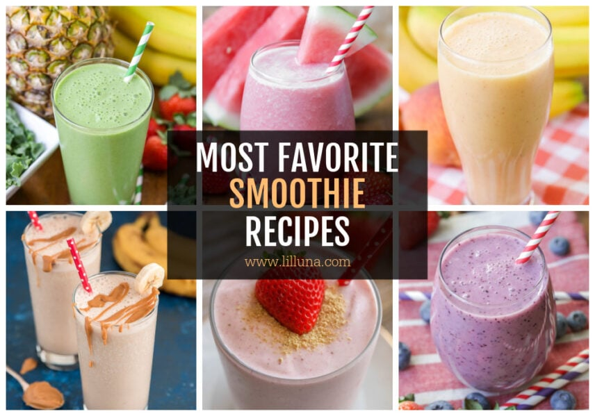A collage of breakfast smoothie recipes