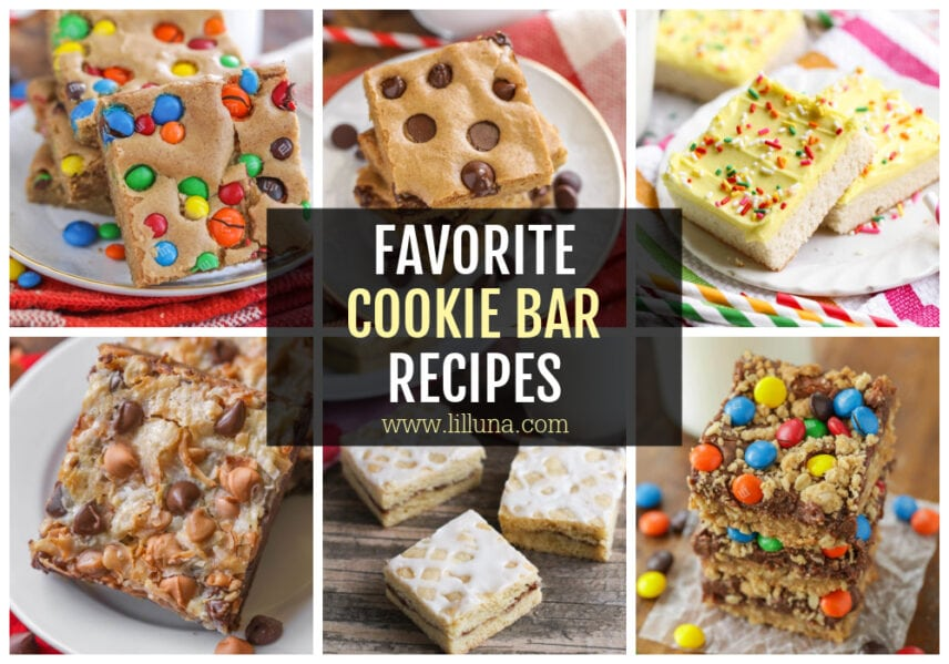 A collage of cookie bar recipes