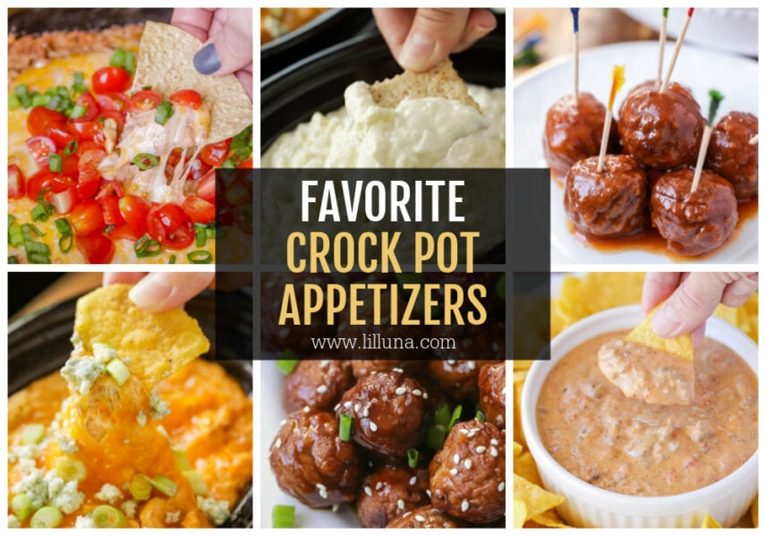 A collage of crock pot appetizers