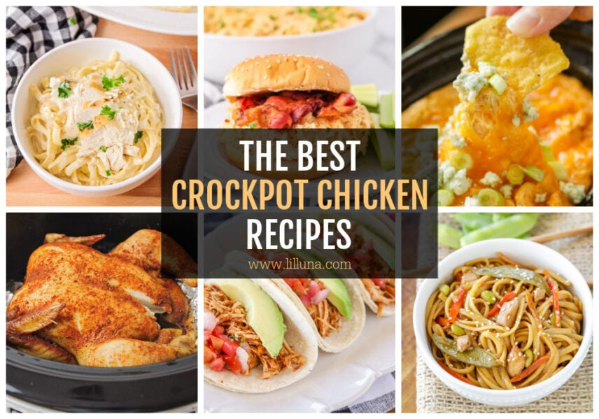 Collage of crockpot chicken recipes