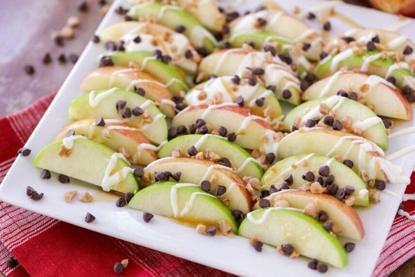 Caramel apple nachos on white plate
