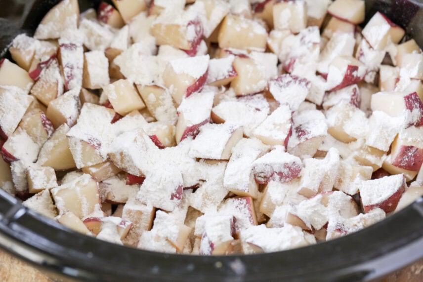 Seasoned potatoes for crockpot potato soup.
