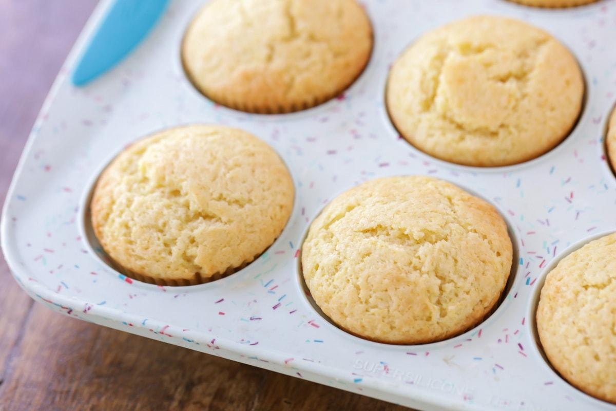 Lemon cupcakes in muffin tin